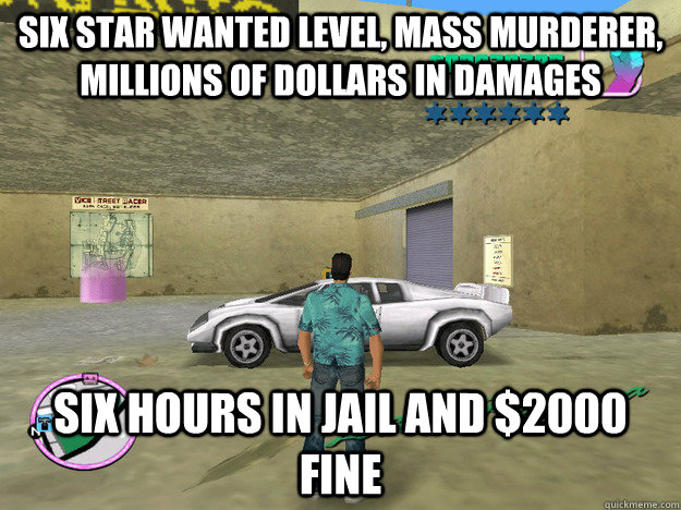 Six star wanted level, mass murderer, millions of dollars in damages Six hours in jail and $2000 fine  GTA LOGIC