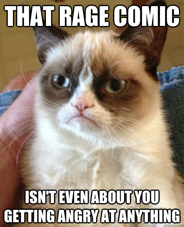 that rage comic isn't even about you getting angry at anything  Grumpy Cat