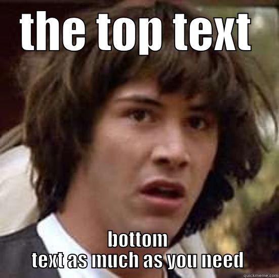 here's the top text - THE TOP TEXT BOTTOM TEXT AS MUCH AS YOU NEED conspiracy keanu