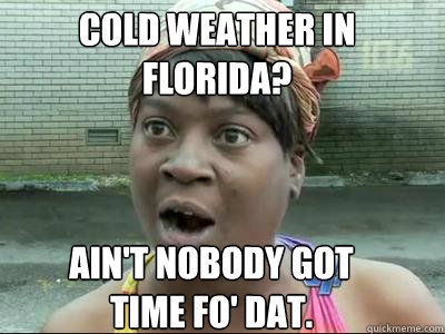 Cold Weather in Florida? Ain't nobody got  time fo' dat.
