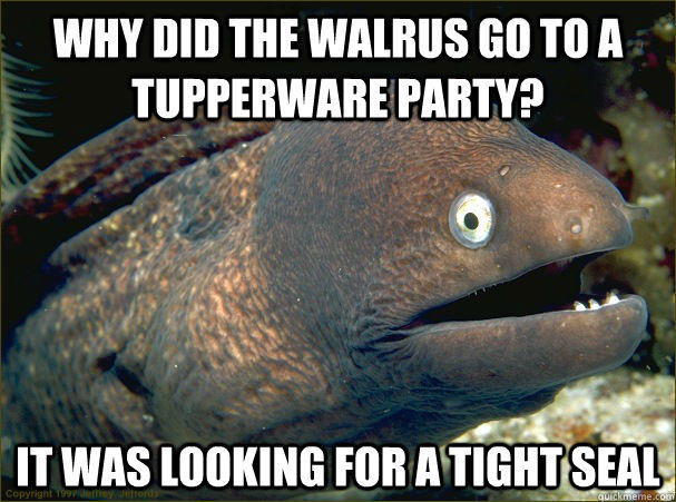Why did the Walrus go to a tupperware party? It was looking for a tight seal  Bad Joke Eel