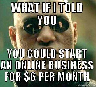Online Business - WHAT IF I TOLD YOU YOU COULD START AN ONLINE BUSINESS FOR $6 PER MONTH Matrix Morpheus