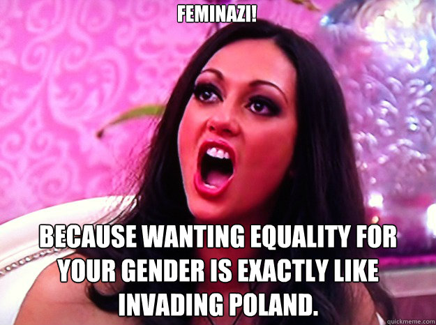 Feminazi! Because wanting equality for your gender is exactly like invading Poland. - Feminazi! Because wanting equality for your gender is exactly like invading Poland.  Feminist Nazi
