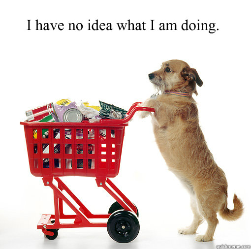 I have no idea what I am doing. - I have no idea what I am doing.  Shopping dog