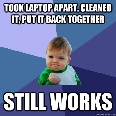 took laptop apart, cleaned it, put it back together still works  Success Kid