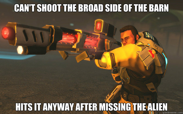 Can't shoot the broad side of the barn Hits it anyway after missing the alien - Can't shoot the broad side of the barn Hits it anyway after missing the alien  XCOM