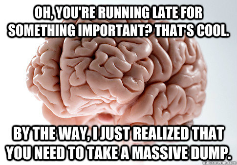 Oh, you're running late for something important? That's cool. By the way, I just realized that you need to take a massive dump.  - Oh, you're running late for something important? That's cool. By the way, I just realized that you need to take a massive dump.   Scumbag Brain