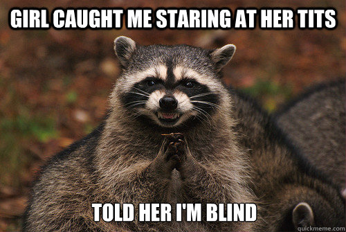 Girl caught me staring at her tits told her i'm blind - Girl caught me staring at her tits told her i'm blind  Insidious Racoon 2