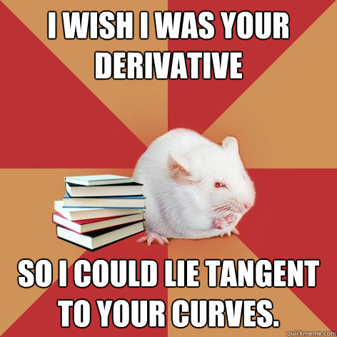 I wish I was your derivative So I could lie tangent to your curves. - I wish I was your derivative So I could lie tangent to your curves.  Science Major Mouse
