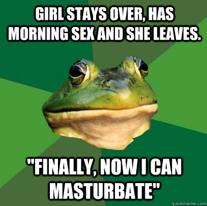 Girl stays over, has morning sex and she leaves.