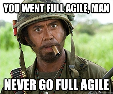 You went full agile, man never go full agile - You went full agile, man never go full agile  Full retard