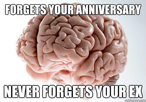 Forgets your anniversary Never forgets your ex - Forgets your anniversary Never forgets your ex  Scumbag Brain