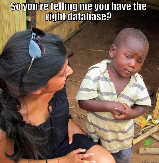 SO YOU'RE TELLING ME YOU HAVE THE RIGHT DATABASE?  Skeptical Third World Child