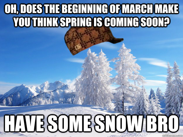 Oh, does the beginning of march make you think spring is coming soon? Have some snow bro