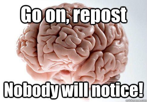 Go on, repost Nobody will notice!  - Go on, repost Nobody will notice!   Scumbag Brain