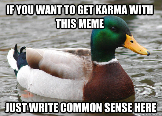 If you want to get karma with this meme just write common sense here - If you want to get karma with this meme just write common sense here  Actual Advice Mallard