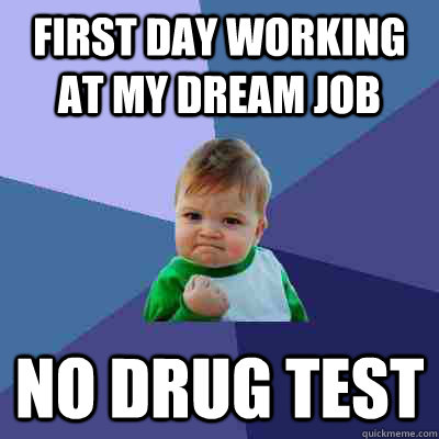 First day working at my dream job No drug test - First day working at my dream job No drug test  Success Kid