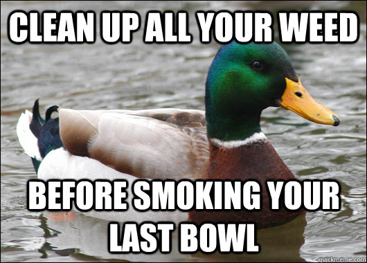 Clean up all your weed before smoking your last bowl - Clean up all your weed before smoking your last bowl  Actual Advice Mallard