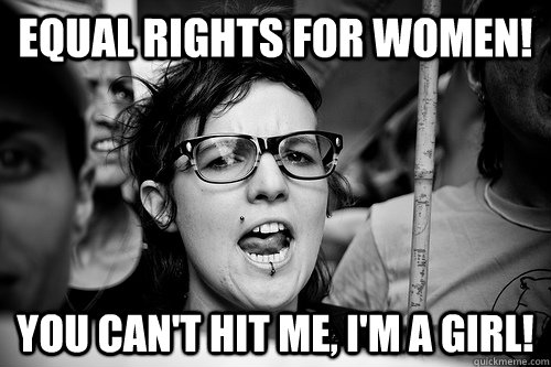 equal rights for women! you can't hit me, i'm a girl!  Hypocrite Feminist