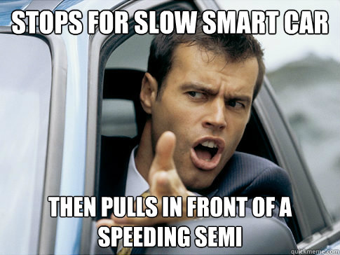 funny trucking pictures pulls in front of a speeding semi