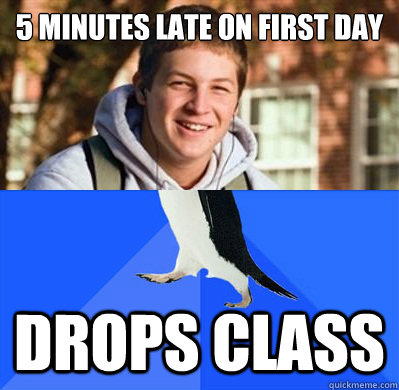 5 minutes late on first day drops class - 5 minutes late on first day drops class  Misc