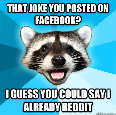 THAT JOKE YOU POSTED ON FACEBOOK? I GUESS YOU COULD SAY I ALREADY REDDIT - THAT JOKE YOU POSTED ON FACEBOOK? I GUESS YOU COULD SAY I ALREADY REDDIT  Lame Pun Coon