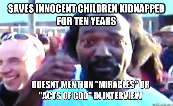 Saves innocent children kidnapped for ten years doesnt mention