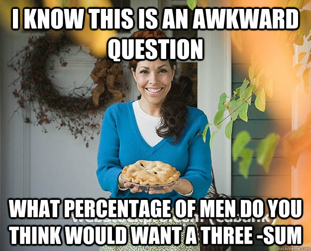I know this is an awkward question what percentage of men do you think would want a three -sum - I know this is an awkward question what percentage of men do you think would want a three -sum  Misc
