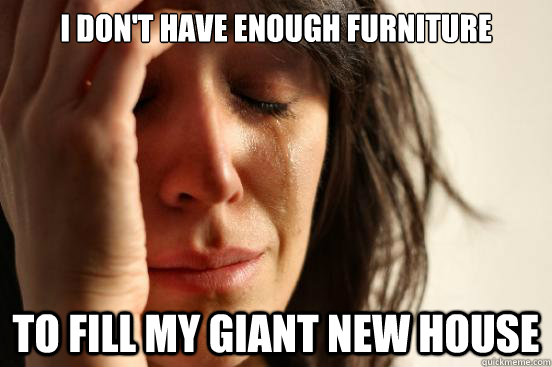 I don't have enough furniture to fill my giant new house - I don't have enough furniture to fill my giant new house  First World Problems