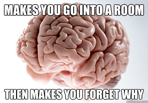 Makes you go into a room Then makes you forget why - Makes you go into a room Then makes you forget why  Scumbag Brain