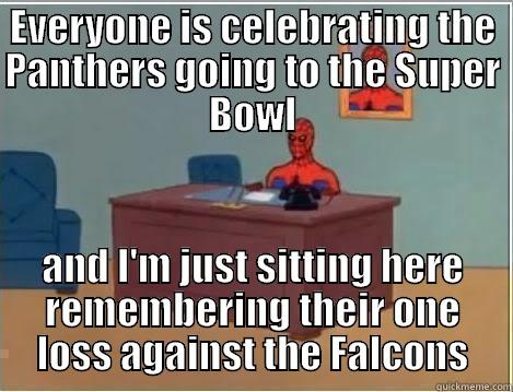 EVERYONE IS CELEBRATING THE PANTHERS GOING TO THE SUPER BOWL AND I'M JUST SITTING HERE REMEMBERING THEIR ONE LOSS AGAINST THE FALCONS Spiderman Desk