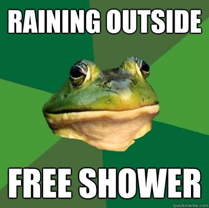 Raining outside free shower