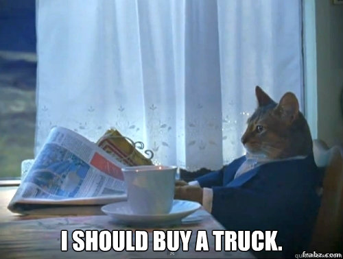 I should buy a truck. -  I should buy a truck.  Contemplative Breakfast Cat