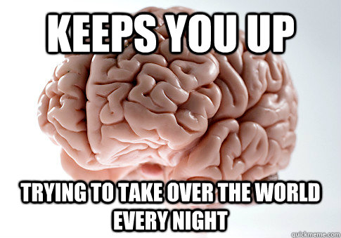 keeps you up trying to take over the world every night - keeps you up trying to take over the world every night  Scumbag Brain