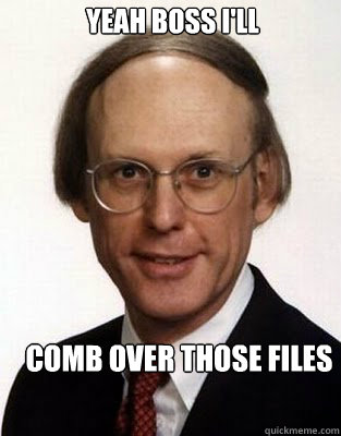 Yeah boss I'll comb over those files