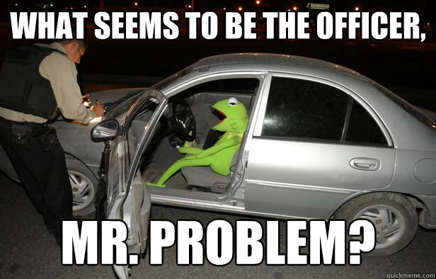 What seems to be the officer, Mr. problem? - What seems to be the officer, Mr. problem?  Kermit the drunk driver.