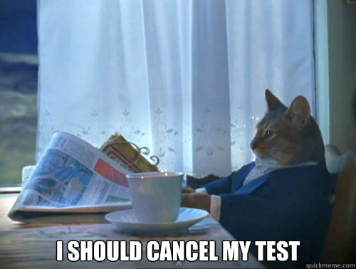 I should cancel my test -  I should cancel my test  The One Percent Cat