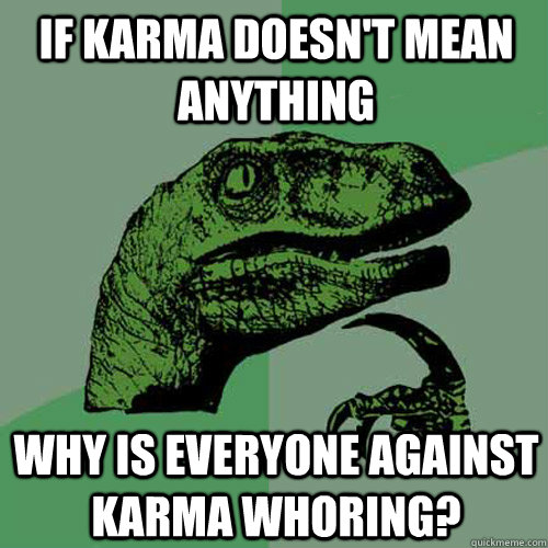 If Karma Doesn't mean anything why is everyone against karma whoring? - If Karma Doesn't mean anything why is everyone against karma whoring?  Philosoraptor