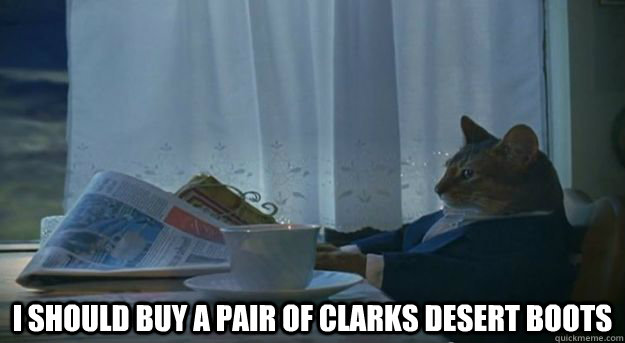 i should buy a pair of clarks desert boots -  i should buy a pair of clarks desert boots  Misc