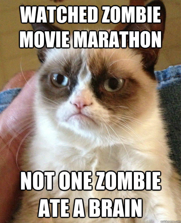 Watched zombie movie marathon not one zombie ate a brain - Watched zombie movie marathon not one zombie ate a brain  Grumpy Cat
