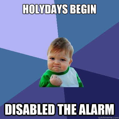 Holydays begin disabled the alarm - Holydays begin disabled the alarm  Success Kid