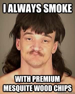 i always smoke with premium mesquite wood chips