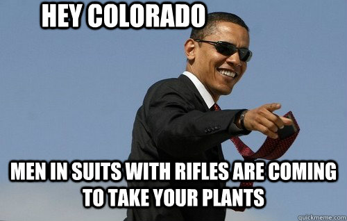 Hey Colorado MEN IN SUITS WITH RIFLES ARE COMING TO TAKE YOUR PLANTS - Hey Colorado MEN IN SUITS WITH RIFLES ARE COMING TO TAKE YOUR PLANTS  Obamas Holding
