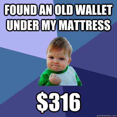 found an old wallet under my mattress $316 - found an old wallet under my mattress $316  Success Kid