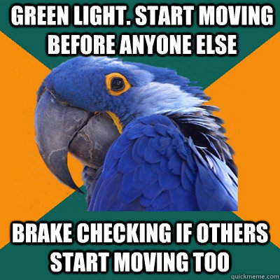 Green light. Start moving before anyone else Brake checking if others start moving too - Green light. Start moving before anyone else Brake checking if others start moving too  Paranoid Parrot