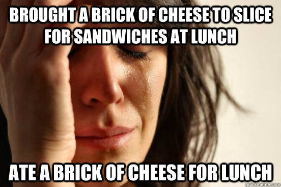 Brought a brick of cheese to slice for sandwiches at lunch  Ate a brick of cheese for lunch - Brought a brick of cheese to slice for sandwiches at lunch  Ate a brick of cheese for lunch  First World Problems
