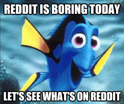 Reddit is boring today Let's see what's on reddit  optimistic dory