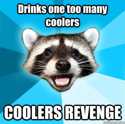 Drinks one too many coolers COOLERS REVENGE - Drinks one too many coolers COOLERS REVENGE  Lame Pun Coon
