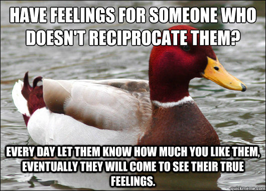 Have feelings for someone who doesn't reciprocate them?  every day let them know how much you like them, eventually they will come to see their true feelings. - Have feelings for someone who doesn't reciprocate them?  every day let them know how much you like them, eventually they will come to see their true feelings.  Malicious Advice Mallard