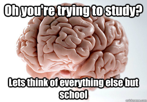 Oh you're trying to study? Lets think of everything else but school - Oh you're trying to study? Lets think of everything else but school  Scumbag Brain